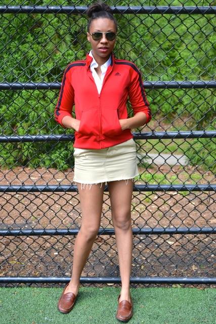 Distressed Khaki Skirt + Track Jacket 2