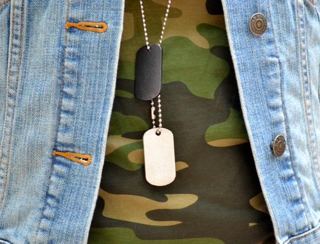 Camo Tee + Denim Vest + Dog Tag Necklace