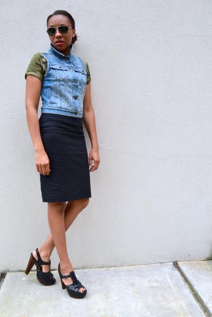 Camo Tee + Denim Vest + Pencil Skirt