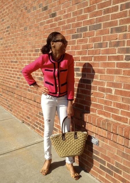 Ladylike Pink Jacket + Distressed Jeans 2
