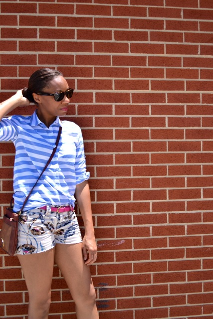Stripe Shirt + Floral Print Shorts 2