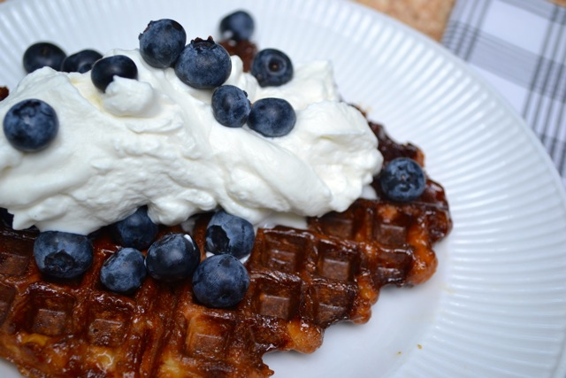 Waffle with Whipped Cream and Blueberries!