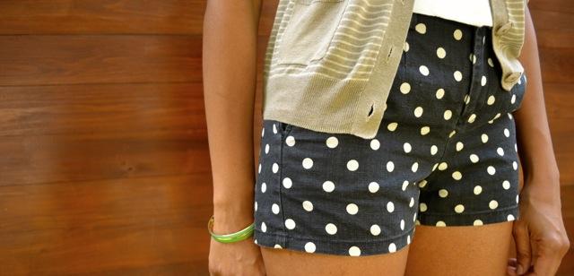 Polka Dot Shorts + Striped Cardigan