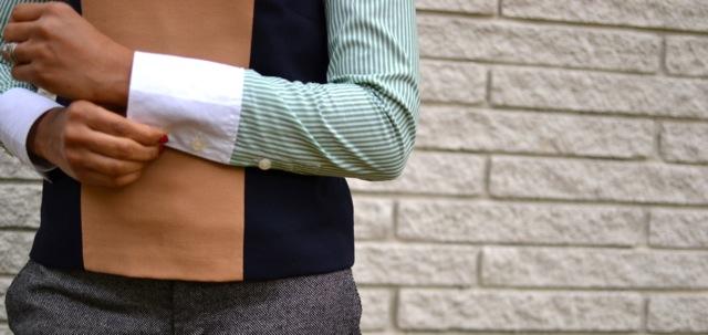 Green Stripe Shirt + Camel/Black Shell + Pants