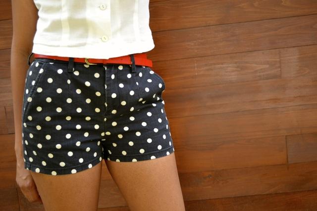 Polka Dot Shorts + Red Belt