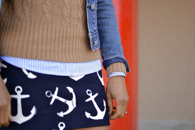 Anchor Skirt + Stripe Shirt + Cable Knit Sweater