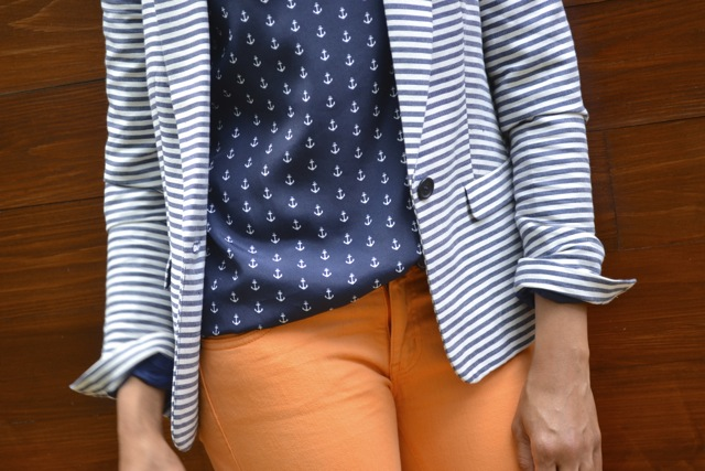 Anchor Print Top + Stripe Blazer + Orange Jeans