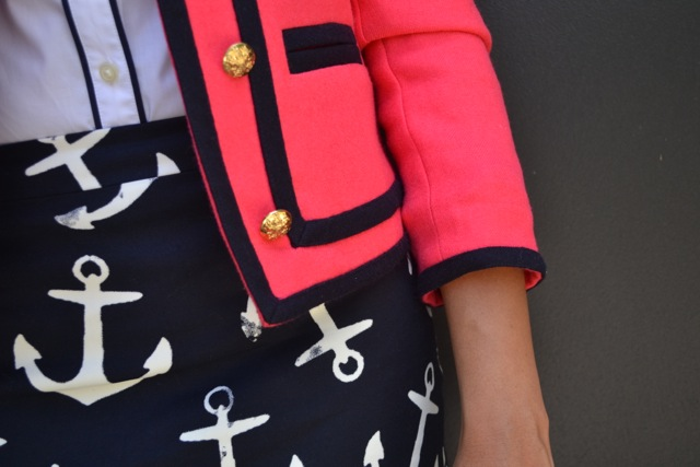Anchor Print Skirt + Piped Shirt + Ladylike Jacket