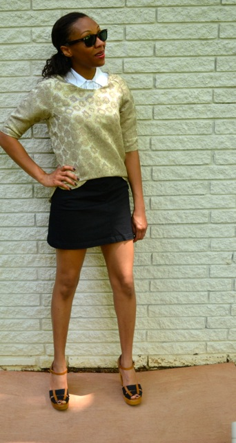 Gold Brocade Top + Button Down + Mini Skirt 2
