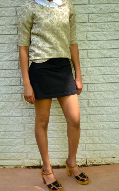 Gold Brocade Top + Button Down + Mini Skirt 3