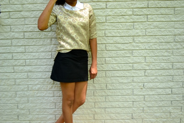 Gold Brocade Top + Button Down + Mini Skirt