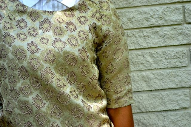 Gold Brocade Top + Button Down + Mini Skirt 4
