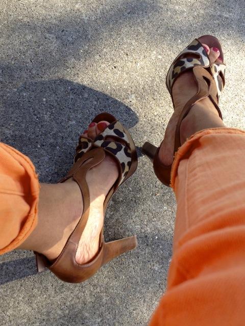 Orange Jeans + Leopard Print Sandals