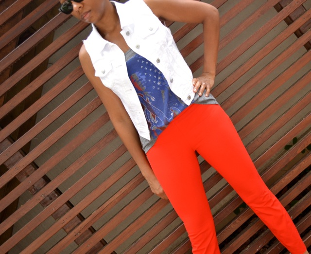 White Denim Vest + Hendrix Tank + Red Pants