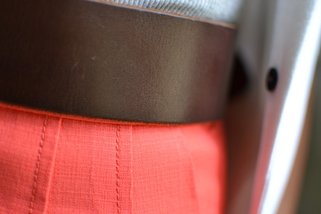 Coral Shorts + Leather Belt + Gray Tank + White Blazer