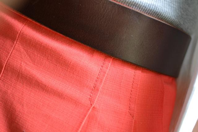 Coral Shorts + Leather Belt + Gray Tank + White Blazer 5