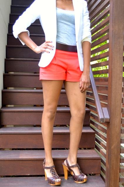 Coral Shorts + Leather Belt + Gray Tank + White Blazer 2