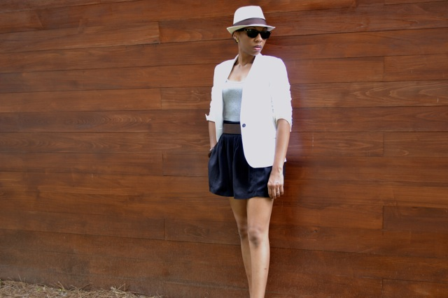 Quick Change: White Blazer and Gray Tank
