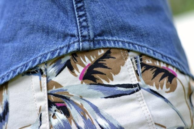 Leaf Print Cutoff Shorts + Denim Shirt