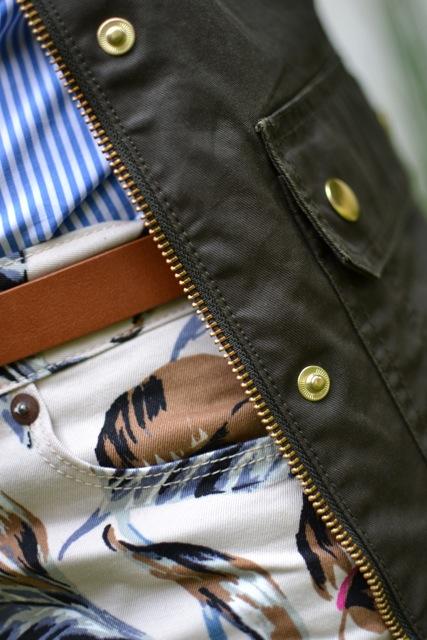 Palm Print Shorts + Stripe Shirt + Field Jacket 4