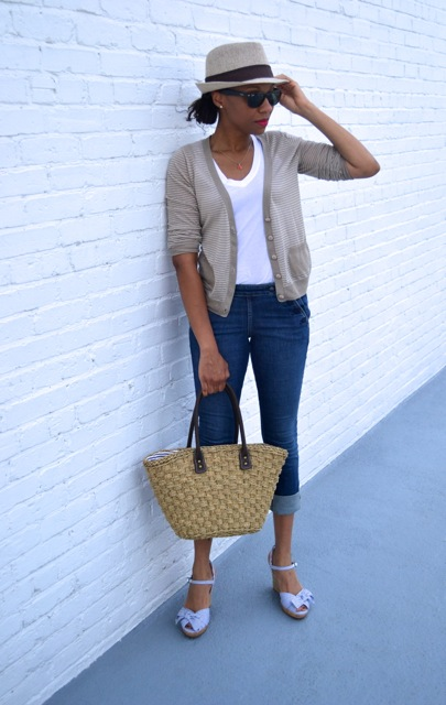 Cropped Denim Sailor Pants + Striped Cardigan 2