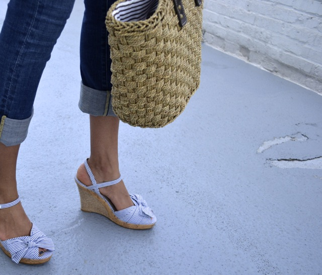 Cuffed Cropped Jeans + Stripe Bow Sandals + Straw Bag