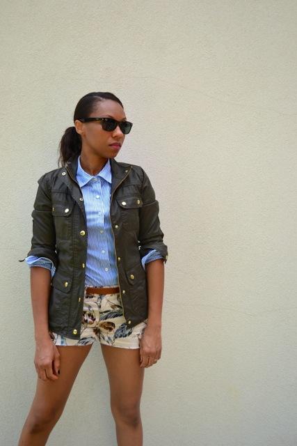 Palm Print Shorts + Stripe Shirt + Field Jacket 2