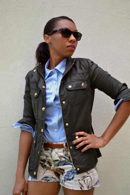 Palm Print Shorts + Stripe Shirt + Field Jacket 3