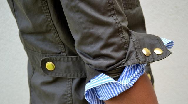 Field Jacket + Stripe Button Down Shirt