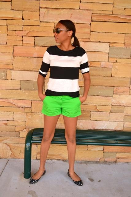 Black/White Striped Shirt + Green Shorts + Dot Flats 3