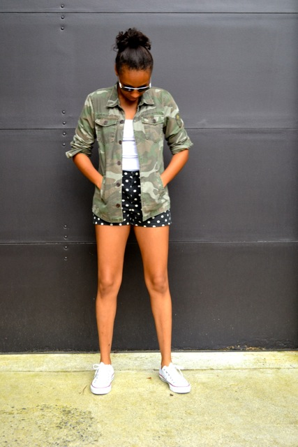 Polka Dot Shorts + Camo Jacket 2