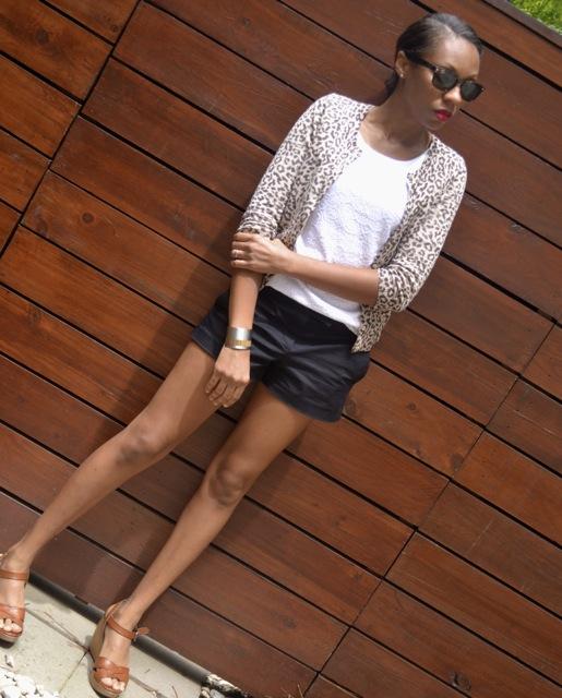 Leopard Cardigan + Lace Shirt + Shorts 2