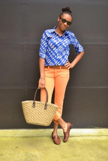 Sailboat Print Shirt + Anchor Buckle Belt + Orange Jeans 2