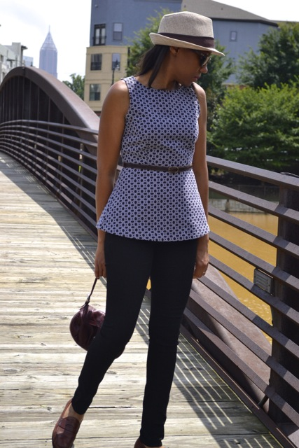 Peplum Top + Thin Belt + Skinny Jeans 4