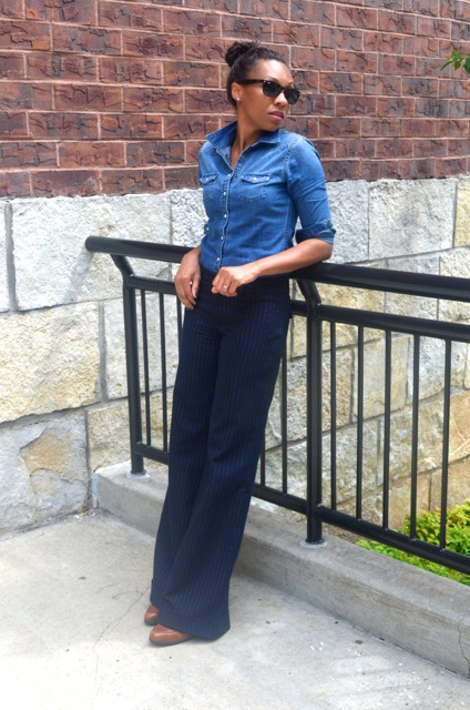 Denim Shirt + Wide Leg Pinstripe Pants 3