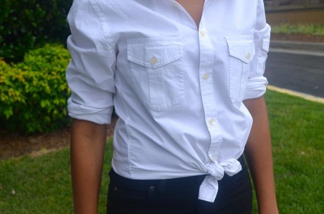Man's White Shirt + Polka Dot Flats