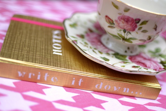 Girly-Girl Details: Notebook and Floral Cup & Saucer