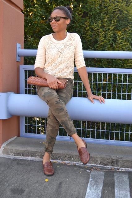 Camo Pants + Lace Sweatshirt 4