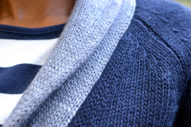 Navy/Gray Shawl Collar Cardi + Stripe Tee