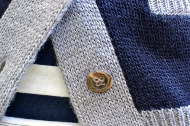 Navy/Gray Shawl Collar Cardigan + Stripe Tee 2