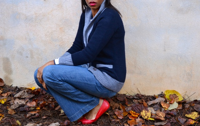 Shawl Collar Cardi + Stripe Tee + Vintage Jeans + Red Flats 3