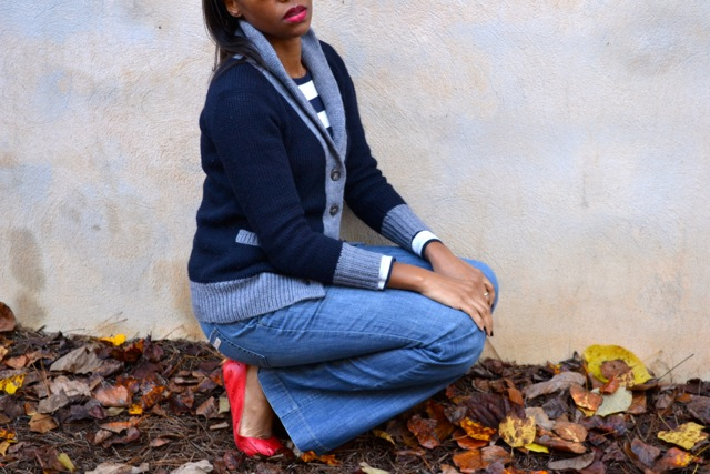 Shawl-Collar Cardi and Vintage Calvin's