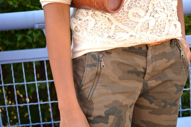 Camo Pants + Lace Sweatshirt