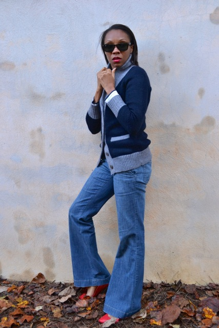 Shawl Collar Cardi + Stripe Tee + Vintage Jeans + Red Flats 2