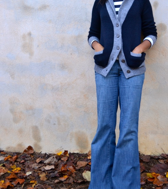 Shawl Collar Cardi + Vintage Flare Jeans