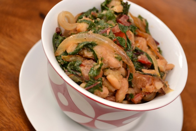 Pan-Seared White Beans with Chard and Onions