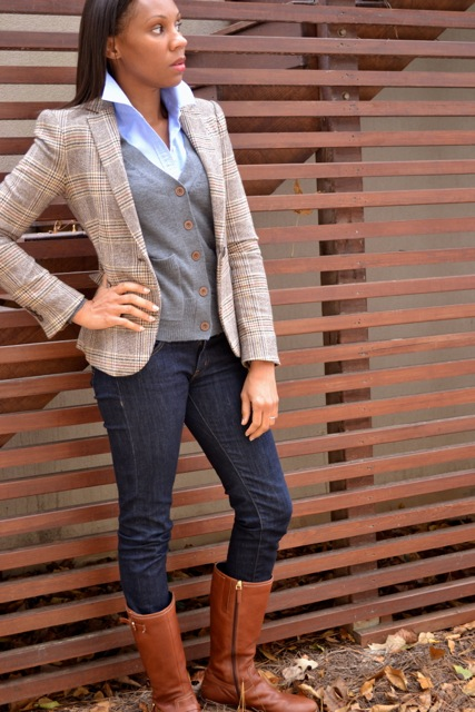 Blazer + Cardigan + Button-Down + Jeans 3