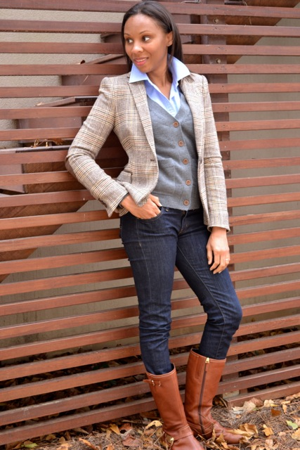 Blazer + Cardigan + Button-Down + Jeans 2