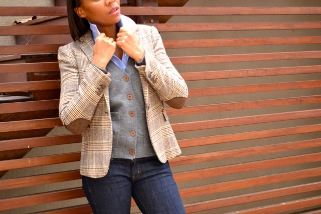 Blazer + Cardigan + Button-Down + Jeans