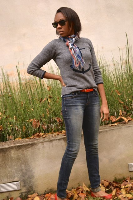 Anchor Sweater + Plaid Scarf + Red Belt and Flats